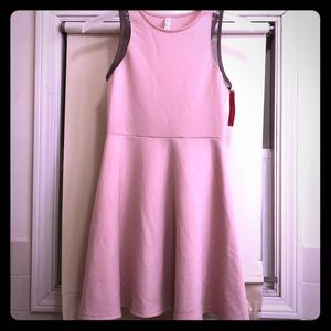 Pink sleeveless fit and flare dress